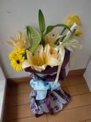 ユリとアンスの花束
