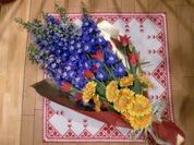 デルフィチューリップガーベラ花束
