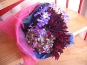 ダりアと紫陽花の花束